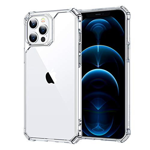 """ESR Air Armor Case Compatible with iPhone 12/Compatible with iPhone 12 Pro (2020) [Drop Protection] [Shock-Absorbing Corners] Hard PC + Flexible TPU Frame, 6.1"""" - Clear"""