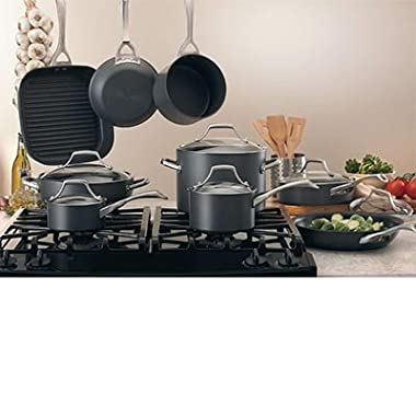 Kirkland Signature™ 15-piece Hard-Anodized Aluminum Cookware Set with 18/10 Stainless Steel Handles and Tempered Glass Lids