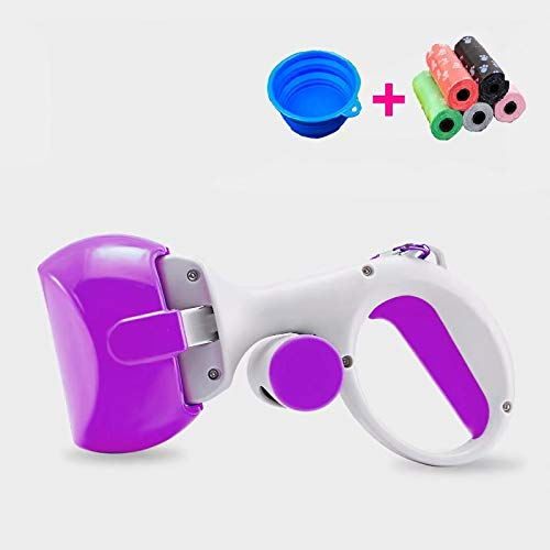 Doyime Poop Clamp Scoop with 10 Rolls Poop Bag Pet Dog Pooper Scooper Pooper Scooper Set for Dogs Top Paw Maws Valuable Package for Pick Up Pets Waste Purple 25.5x12.5cm
