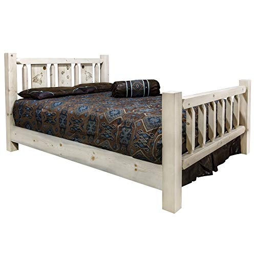 Fantastic Prices! Montana Woodworks Homestead Collection California King Bed w/Laser Engraved Wolf D...
