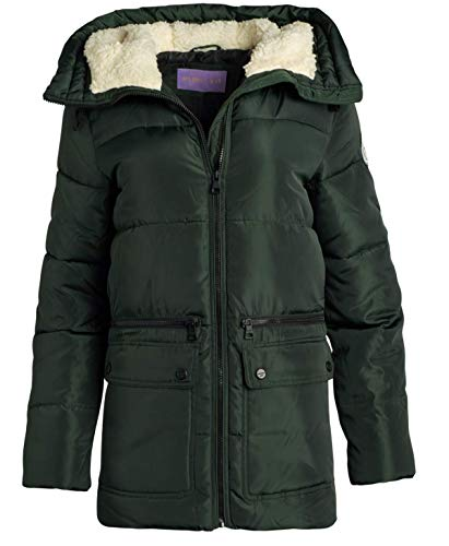 Madden Girl Women's Outerwear - Heavyweight Bubble Puffer Jacket with Oversized Sherpa Fur Lined Hood, Size Large, Hunter Green'