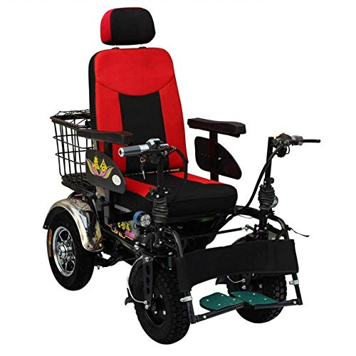 FYYDNR Adult Four-Wheel Electric Wheelchair, All Terrain Off-Road Wheelchair Folding Self-Propelled, Lightweight Portable Smart Chair Personal Wheelchair, Personal Mobility Aid