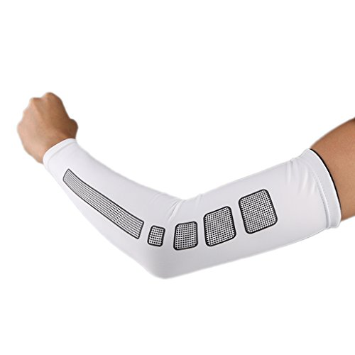 sharprepublic Baloncesto Codo Brace Athletic Sport Arm Support Skins Arm Sleeves Cubierta UV - Blanco, SG