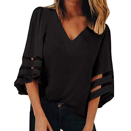 VEMOW Camisetas Mujer Blusa Tops sin Mangas con Cuello de Malla sólido con Cuello en V de Mujer Cuello Camisa Camisola(V Negro,S)