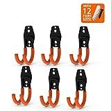 CoolYeah Steel Garage Storage Utility Ganchos dobles, resistentes para organizar herramientas eléctricas, pequeños ganchos J (paquete de 6, 4,7 × 1,9 × 6,3 cm)