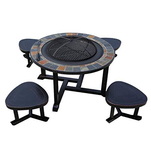 JU FU BBQ Barbecue Grill - Table et Chaise de Barbecue en Plein air Ménage Grill à Charbon de Bois Grill Jardin Jardin Aire de Jeux en Plein air Table de Loisirs et Chaise en Aluminium moulé @@
