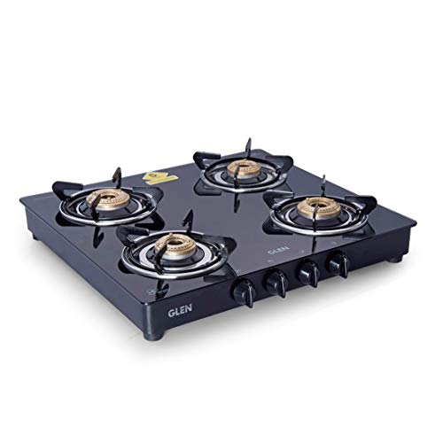 Glen 4 Burner Gas Stove 1043 GT Brass Burner Black  Cooktop