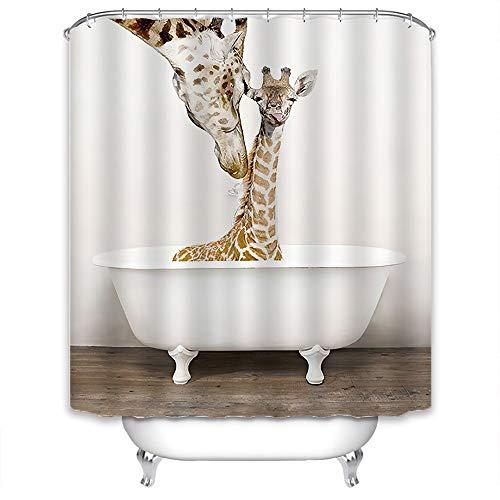 Xlabor Süß Tier Duschvorhang Badewannevorhang Wasserdicht Anti-Schimmel Stoff inkl. 12 Duschvorhangringe für Badezimmer Giraffe 180x200cm