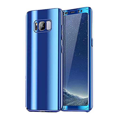 Galaxy S8/S8 Plus Hüllen, Galaxy Note 8 Handyhülle 3 in 1 Ultra Dünn Case Hartschale 360 Grad Hart PC Mirror Hülle Spiegel Hardcase Backcover Schutzhülle (Samsung Galaxy S8 Plus, Blau)