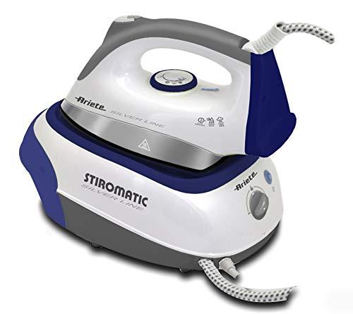 Ariete Stiromatic Silver Line 5579 - Centro de Planchado de 2200 W, 3.5 Bar, Autonomía Ilimitada, Suela Cerámica, Blanco y Azul