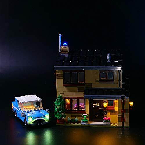EDCAA Kit de iluminación LED para Harry Potter 4 Privet Drive House Set con Ford Anglia, Dobby Figure y Dursley Family Set compatible con lego 75968 (no modelo de bloques)