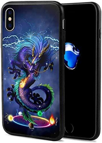 Romance-and-Beauty Estuche Darkness Dragon para iPhone X, ultradelgado, Brillante, Suave, de Goma, Gel, TPU, Carcasa para teléfono Compatible con iPhone X