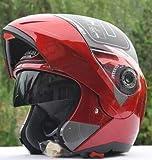 Dgtyui Herren Motorradhelm Doppelscheibe Sonnenblende Flip Schnee Motorradhelm Offroad Motorrad Herren Winter Motorrad Fahrradhelm - 1 XL