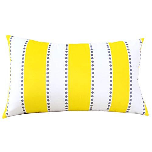 Nuobaby decoratief kussen sierkussen sofakussen geometrisch kussen 50 x 70 cm + kussen geel en wit gestreept