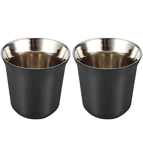 Fransande - Juego de 2 paquetes de tazas de café de acero inoxidable, 80 ml, para café
