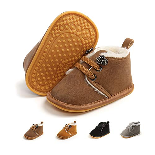 ENERCAKE Baby Booties Newborn Boy Girl Shoes Winter Warm Fur Lining Non-Slip Lace Up Prewalker Boots(6-12 Months Infant, C-Camel)