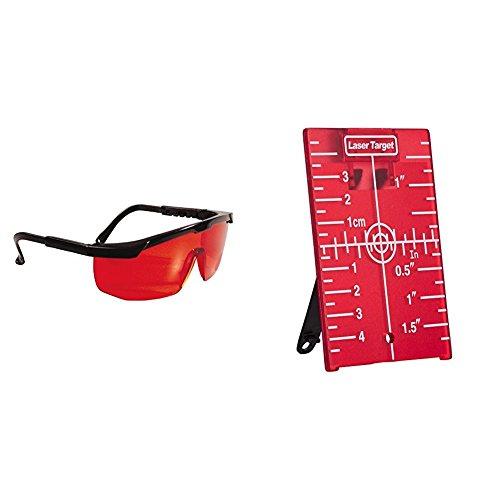 Stanley Laserbrille 1-77-171 rot/Laserlichtbrille + 1-77-170 Laser Zieltafel mit Reflektoren, für eine Verbesserung der Laser-Sichtbarkeit