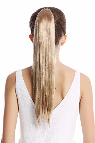 WIG ME UP ® - Srosy-22 Extension natte queue de cheval nouveau système peigne et serre-tête élastique blond cendré lisse 55 cm