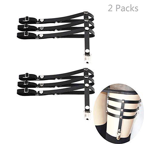 Daimay Leder Strumpfband 2 PCS Oberschenkel Ring Harness Suspender Gothic Gummi Nieten Strapsbänder Verstellbare mit Metall Clip - Schwarz