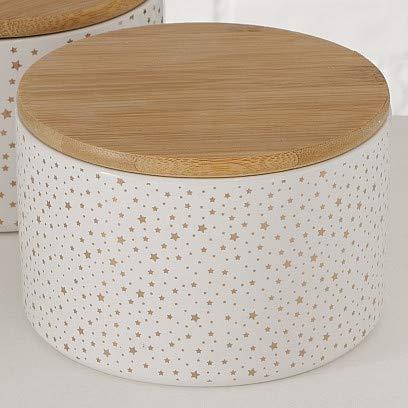 Bloominghome Vorratsdose mit Holzdeckel flach kleine Sterne Gold 16 cm