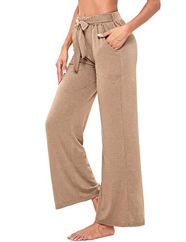 Sykooria Pantalones Casuales de Cintura Alta Mujer, Pantalón Acampanado Pierna Ancha Salón...