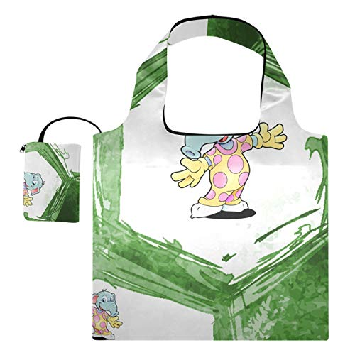 XiangHeFu Bolsas de compras reutilizables para regalo de comestibles, gran capacidad, plegable, deporte, fútbol, fútbol, dibujos animados, elefante