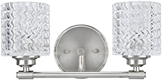 Aspen Creative 62057, Two-Light Metal Bathroom Vanity Wall Light Fixture, 14 1 2  Wide, Transitional Design in Brushed Nickel with Clear Glass Shade