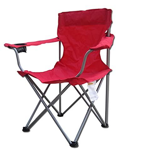 LOFAMI Outdoor Freizeit Klappstuhl, Angelstuhl, Strandstuhl mit Rückenlehne Sessel, tragbarer atmungsaktiver bequemer Stuhl (Color : Red)