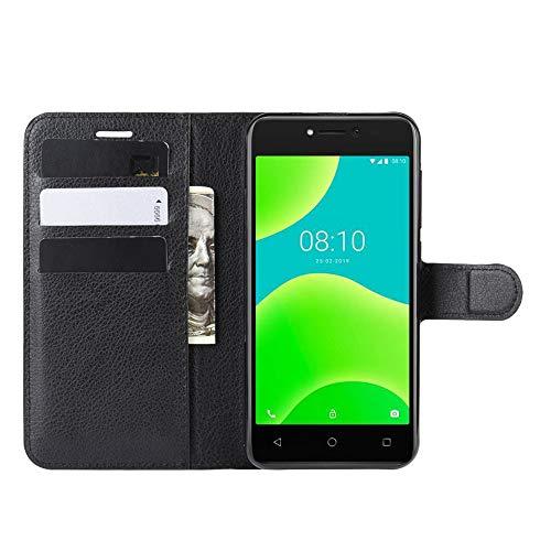 DAMAIJIA Funda Movil para Wiko Y50 Carcasa Cuero PU Silicona Magnetic Wallet Protector Teléfono Flip Back Cover For Wiko Sunny 4 Sunny4 Tapa con Soporte (Black)