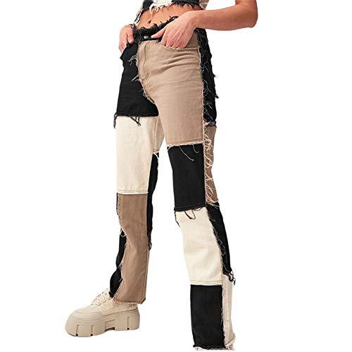 L&ieserram Damen Patchwork Jeans High Waist Stretch Cutoffs Distressed Straight Leg Denim Jeans Hose 70er Vintage E-Girl Style Y2K Schlagjeans Hose (Schwarz, XS)