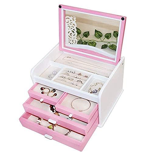 erddcbb Caja de joyería de Madera Maciza Caja de joyería de múltiples Capas Almacenamiento Cubierta Superior Transparente Organizador de Joyas para Mujeres y niñas Rosa