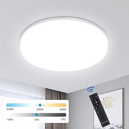 LED Deckenleuchte Dimmbar mit Fernbedienung 24W, IP54 Deckenlampe dimmbar, LEOEU Schlafzimmerlampe Lichtfarbe und Helligkeit Einstellbar Idear für Wohnzimmer Kücke Bad Kinderzimmer Hotel, Ø28cm