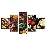 MSKJFD Decoración de la Cocina Marco de Arte de Pared 5 Piezas Vegetales Setas Chile Patata Zanahoria Pinturas de Alimentos Impresión HD Cuadros de Lienzo modulares