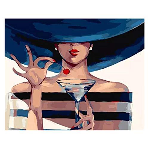 Tireow Fille Et Cerise Peinture Numérique à L'huile De Couleur De Bricolage Sans Cadre Intérieur, Peinture Par Numéros Coloriage Par Numéros Image