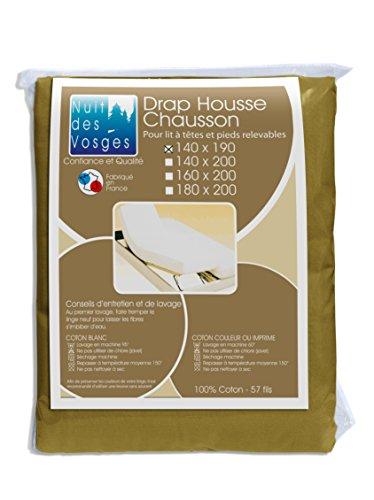 Nuit des Vosges 2104813 Cotoval Drap Housse TPR Uni Coton Taupe 140 x 190 cm