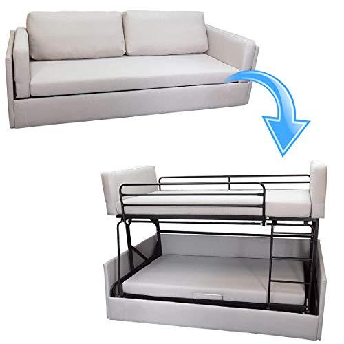 Platinum Furniture Schlafsofa / Etagenbett in beigem Stoff, zusammenklappbar, für Doppelbett