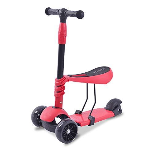 FXPHBC Kinderroller, Mini-Roller Mit DREI Rädern Faltbar Leichtgewicht Sicherheit Stange Aus Aluminiumlegierung Einstellbare Höhe Geeignet Für Kinder Ab 2 Jahren Mit Blitzrad