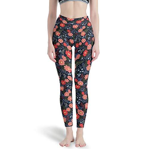 NeiBangM Sport-Leggings Yoga Slang Mädchen Pflanze Blume Fitness Hosen für Stretch Workout