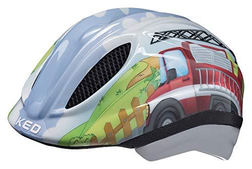 KED Meggy Trend M Fire Truck - Casco para bicicleta (52-58 cm, incluye cinta de seguridad RennMaxe, para patinaje, MTB BMX y niños)