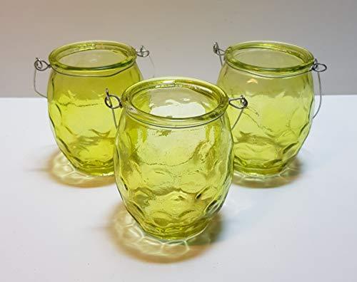 Teelichthalter mit Henkel Glas grün ca. 9 cm hoch Dm ca. 6,5 cm (3 Stück)