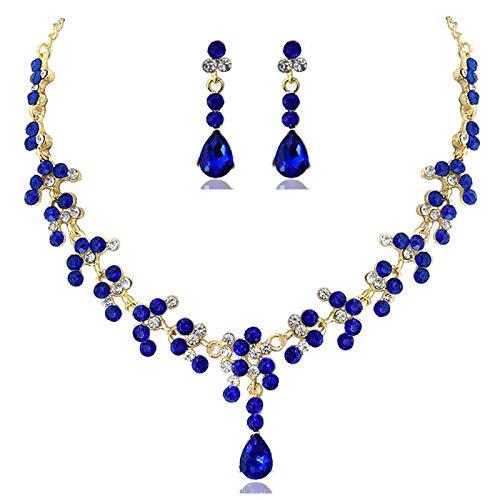 qwertyuio Collar para Mujer Conjuntos De Boda Nupcial De Cristal Mujer Pendientes...