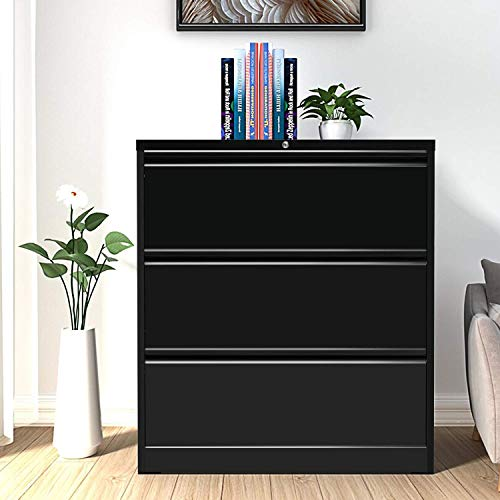 3 Drawer File Cabinet for Home Office Steel Metal Lateral Filing Cabinet Lockable Large Capacity Metal Office File Cabinets with 4 Adjustable Hanging Bars and 2 Keys Black