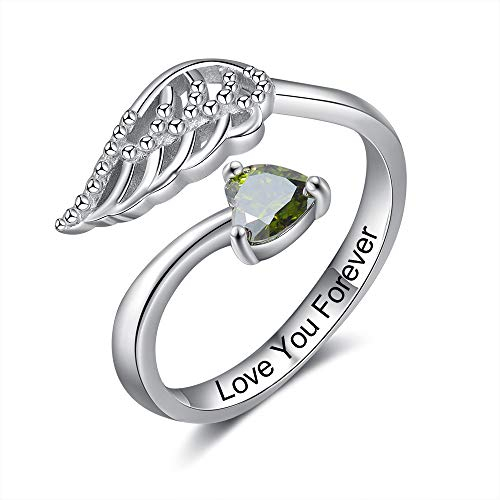 Albertband Personalisierte Ring Damen Twist Silber Ring Gravur Damen mit 1 Simulierte Birthstone Damen Ring mit Flügel für Mutter Tochter Geschenk fur Freundschaftsringe (Silber)