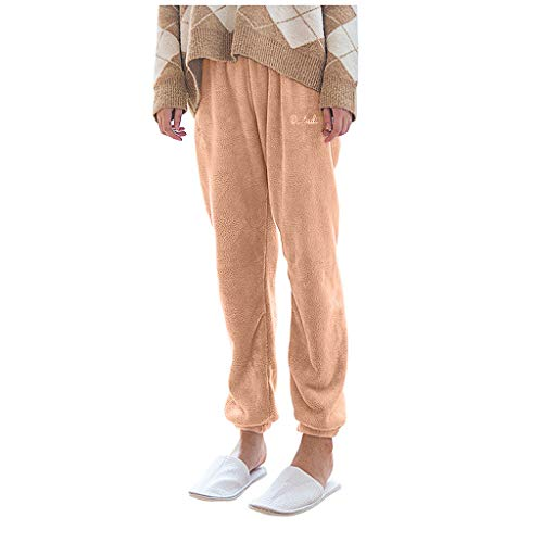 LOPILY Plüsch Freizeithosen Damen Winter Schlafanzughose Lang Flannel Kuschelhosen mit Gummizug am Knöchel Stickerei Sweathosen Warme Fleecehose Locker Thermounterhose Pyjamahose (Rosa, L)