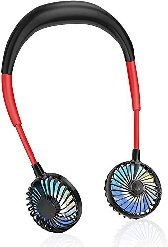首掛け扇風機 usb充電式 大容量 2600mAh くびかけ ファン 風量3段階調節 360°角度調整 虹色LEDライト付き