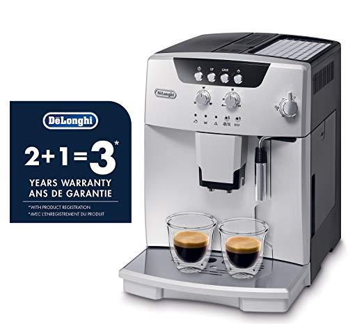 De'longhi esam04110s magnifica fully automatic espresso machine with manual cappuccino system silver 7 thermo block technology provides excellent heat distribution integrated burr grinder with adjustable settings consistent brewing every time