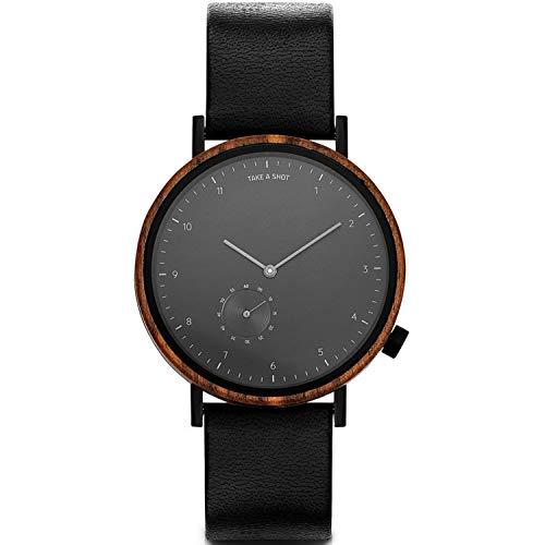 TAKE A SHOT Holzuhr - Holz Armbanduhr für Herren mit Schwarzem Lederarmband, Analoge Herrenuhr mit Gehäuse aus Holz, Durchmesser 42 mm, James 2.0