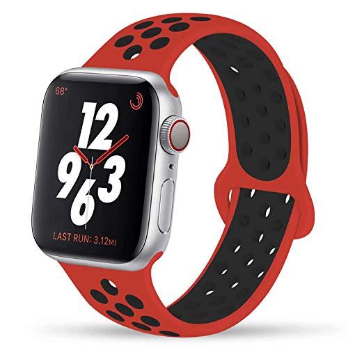 VIKATech Ersatz Armbänder Für Apple Watch Armband 44mm 42mm, Weiche Silikon Ersatz Armbänder für iWatch Armband Series 5/4/3/2/1, S/M, Rot/Schwarz