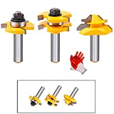 Tongue and Groove Router Bit Tool Set 3 Teeth Adjustable T Shape Wood Milling Cutter 1/2 I...