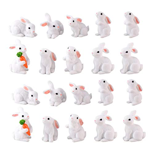 STOBOK 20 Piezas Mini Figura de Conejito Juguete Conejo Pastel Resina Toppers Lindo Miniatura Conejo Micro Paisaje Modelo para Decoración/Color Aleatorio